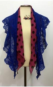 Conjunto Azul y Fucsia de Pañuelo Devouré, Pañuelo Crepe y Pendientes