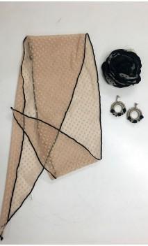 Beige & Black Lace Scarf, Crochet Earring & Flower Set