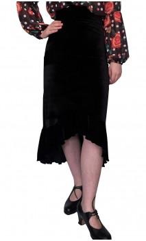 Solid Velvet Midi-Skirt