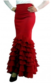 Plain Santa Rosa Flamenco Skirt 8 Ruffles