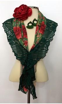 Conjunto de Xale Verde Floral, Brinco Crochet e Flor