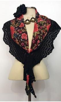 Conjunto de Pañuelo Negro Floral, Pendientes de Crochet y Flor