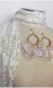 White & Pink Earrings, Scarf & 3 Flowers Belt Set