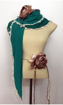 Conjunto Flamenco Verde y Rosa de Pañuelo, Flor y Adorno 1 Flor