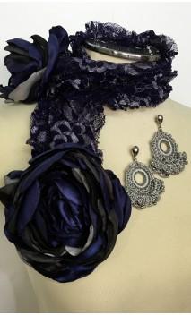 Conjunto Azul e Prata de Aplique de Renda c/Flores e Brinco
