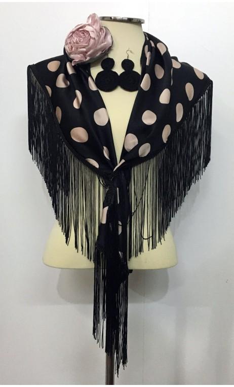 Earrings, Satin Flower & Scarf Black & Nude Rose Flamenco Set