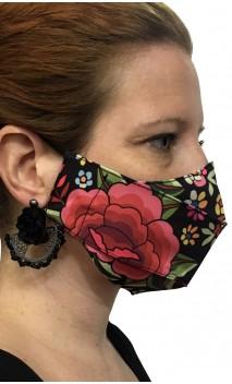 Máscara Estampada Preta Floral