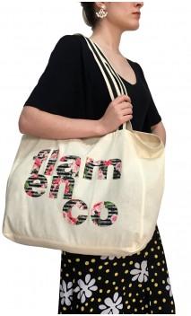"""Cotton Eco-Bag w/""""Flamenco"""" Print"""