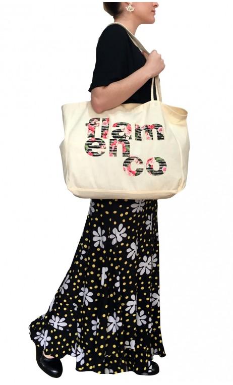 "Cotton Hand-Bag w/""Flamenco"" Print"