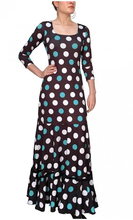 Vestido Flamenco Godet Mercedes Lunares