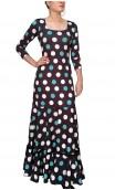 Polka-dots Mercedes Flamenco Godet Long Dress