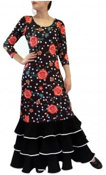 Vestido Flamenco Maya Floral 3 Babados