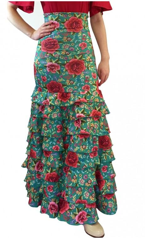 Letizia Floral 8 Ruffles Long-Skirt