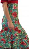 Falda Letizia Floral 8 Volantes
