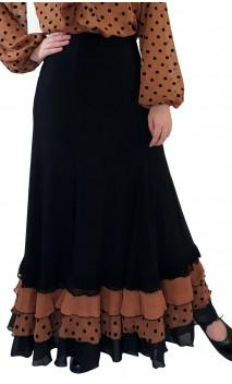 Falda Flamenca Carmela con Gomos y Volantes Estampados