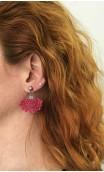 Green & Rose Scarf, Earrings & Flower Apliqué w/ Laces Set