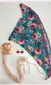 Conjunto Verde e Rosa de Lenço, Brinco e Aplique de Flor c/Renda