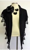 Black Shawl, Flower & Earrings Set