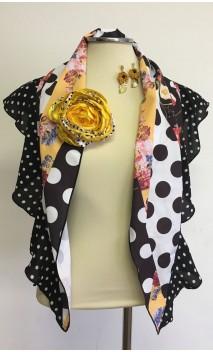 Conjunto Negro, blanco y amarillo de Pañuelo, Pendientes de Crochet y Flor