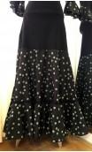 Black w/Green Polka-dots Godet Skirt & Top Flamenco Set