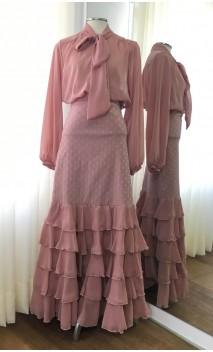 Conjunto Flamenco Camisa e Saia Nude Rosado 5 Babados
