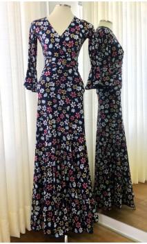 Conjunto Flamenco Saia e Blusa Azul Floral