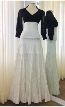Off White Canastera Flamenco Skirt w/Satin Ruffles