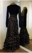 Shirt & Skirt Black w/Mustard Polka-dots Flamenco Set