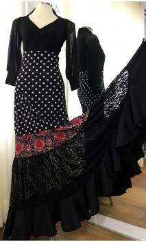 Falda Flamenca Canastera Negra c/Lunares y Encajes