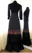 Black w/Polka-dots & Lace Canastera Flamenco Skirt