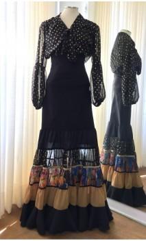 Conjunto Flamenco Preto c/Dourado de Camisa e Saia