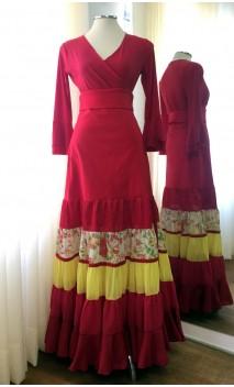 Falda Flamenca Canastera Roja y Amarilla