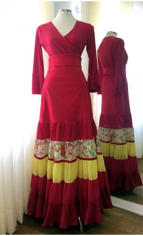 Red & Yellow Canastera Flamenco Skirt