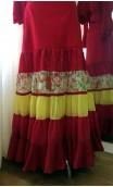Saia Flamenca Canastera Vermelha e Amarela