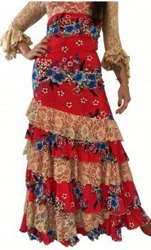 Saia Flamenca Leonor 6 Babados c/ Renda