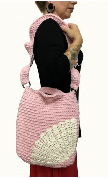 Bolso en Crochet Rosa y Beige Claro