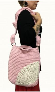 Rose w/Light Beige Crochet Bag
