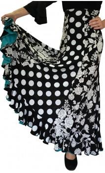 Francesca Black & White Flamenco Skirt w/ 6 Panels