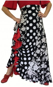 Saia Flamenca Francesca Preta e Branca 6 Gomos