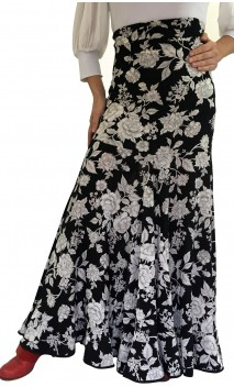 Falda Floral Blanca y Negra Ester Extra Godet