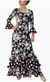 Vestido Flamenco Preto e Branco 3 Babados