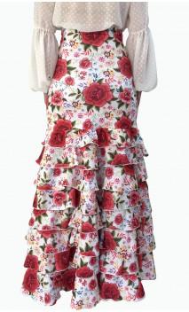 Letizia Floral 8 Ruffles Flamenco Skirt