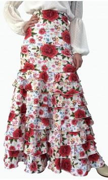 Saia Flamenca Letizia Floral 8 Babados