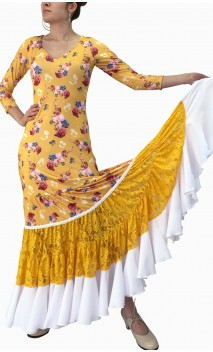 Vestido Flamenco Frida estilo Canastera c/Lenço de Renda