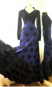 Blue w/Polka-dots Flamenco Skirt 4 Ruffles