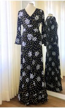 Conjunto Saia e Blusa Preto Floral