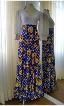 Saia Flamenca Azul Floral de Gomos
