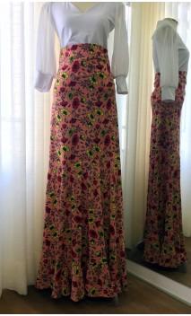 Floral Salmon Godet Flamenco Skirt