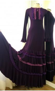 Vestido Flamenco Morado 4 Volantes