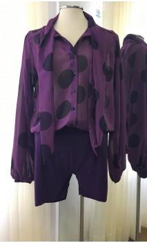 Printed Crepe Leotard-Shirt
